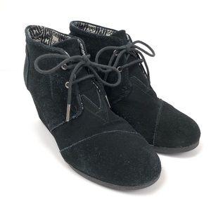 Toms Desert Wedge Black Suede Booties Boots Size 9
